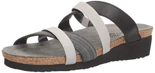 Naot Footwear Women's Roxanna Black Fabric/Gloss Black Stretch/Light Gray Stretch Sandal 6 M US