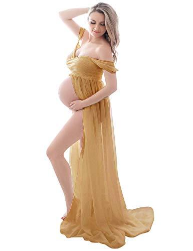 FEOYA-Maternite Dames Robes pour Photoshoot Traînant Longue Robe Femme Enceinte Robe Ete en Mousseline de Soie Hors Epaule Bretelles Avant Fendu Jupes Photographiques,L,Marron-Gingembre