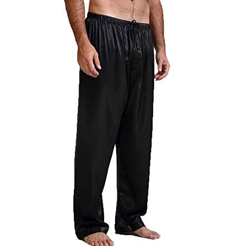 BriskyM Lässige Herren Hohe Taille Satin Seide Pyjama Hose Schlaf Bottom Hosen (Schwarz, L)
