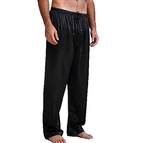 BriskyM Lässige Herren Hohe Taille Satin Seide Pyjama Hose Schlaf Bottom Hosen (Schwarz, XL)