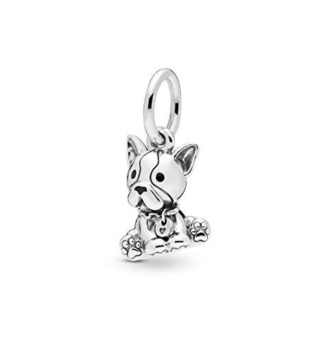 MiniJewelry 1PCs Bulldog Puppy Pet Charm for Bracelets Animals Best Friend Sterling Silver Charm Women Girls Daughters Sisters Gift
