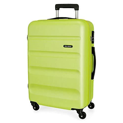 Roll Road Flex Großer Koffer Grün 51x74x28 cms Hartschalen ABS Kombinationsschloss 91L 3,8Kgs 4 Räder