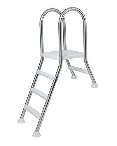 Flexinox Escalera de Piscina Modelo de Puente semielevado en Acero Inoxidable A304L de 1+5 peldaños de plástico
