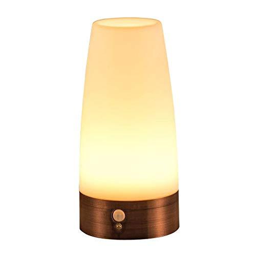 Your's Bath LED Lámpara Nocturna Lámpara de Mesa con Sensor Movimiento Luz de Noche Lámpara de Cabecera sin Cable Alimentada por Batería para Hogar Habitaciones Pasillo