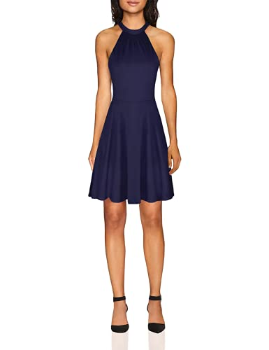 OUGES Women's Stand Collar Off Shoulder Sleeveless Cotton Casual Dress(Navy,M)