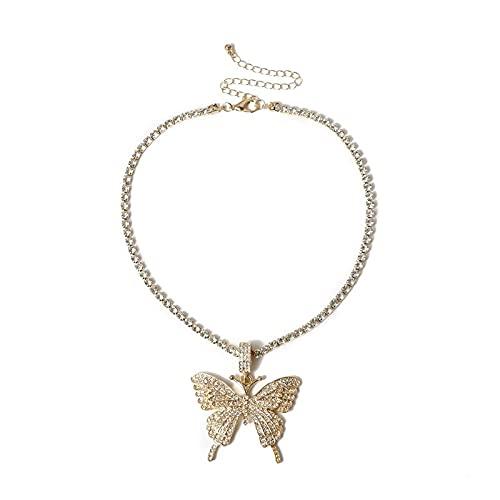 Collar Cristal Completamente Helado Pave Mariposa Colgante Circón Cúbico 3D Mariposa Colgante Collar Joyería De Moda Oro