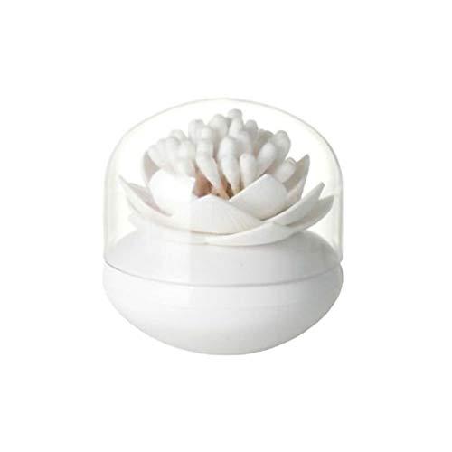 Iswell Bastoncillo de algodón Asiento de loto Soporte de bastoncillo a prueba de polvo Dispensador Organizador Caja de almacenamiento exótica Soporte de palillo de escritorio