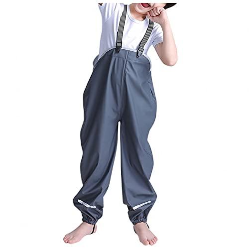 Vexiangni Playshoes Pantalones de lluvia para niños, de una pieza, impermeables, resistentes al viento, peto de lluvia, transpirables, con tirantes, para niños y niñas, Gris H, M