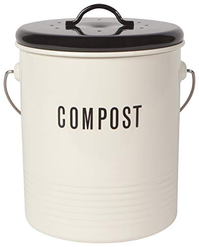 Best Prices! Now Designs Vintage Compost Bin, Ivory
