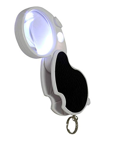 LED Lighted 3X Folding Pocket Magnifier with 15X Loupe, 60mm Diameter Flip Open Lens Dual Lenses Jewelry Hobby Educational Coins