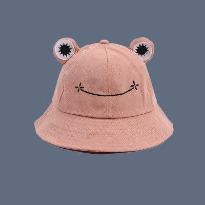 Sombrero de Cubo de Rana a la Moda para Mujer, Nuevo Sombrero de Verano, Gorra dePesca de Rana paraPadres eHijos, Sombrero de Sol Lindo Salvaje Coreano, Sombrero de Cubo de Ojos Grandes-Pink-M
