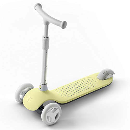 Scooter for Kids Ages 3-6, Height Adjustable Kick Lean to Steer with Flashing PU Wheels, Foldable Board Best Gifts Kids (Color : Yellow)