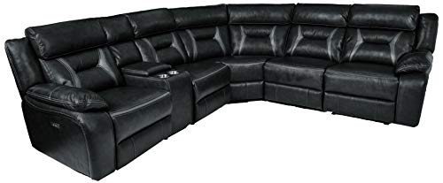 Homelegance Amite 6-Piece Power Reclining Sectional with Console and USB Port, 106' x 119', Dark Gray Leather Gel Match