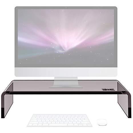 Duronic DM054 Bildschirmständer/Monitorständer/Notebookständer/TV Ständer/Bildschirmerhöhung/Laptop | Acrylglas | schwarz | 50cm x 20cm | 30kg Kapazität