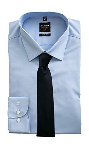 OLYMP Hemd, Hellblau Body Fit Level Five mit passender Krawatte, Bügelleicht (44)