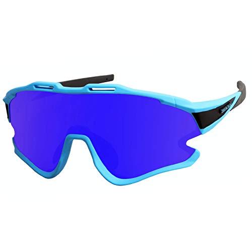 GIEADUN Occhiali Ciclismo Polarizzati con 3 Lenti Intercambiabili Occhiali Bici Antivento e Antiappannamento Occhiali Sportivi da Sole Anti UV da Uomo Donna per Corsa, MTB e Running (Blu)