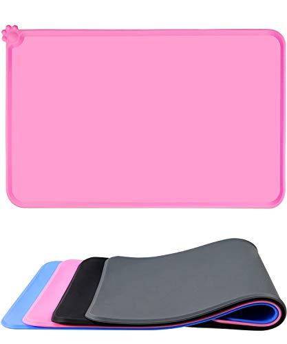 Taglory Napfunterlage Hund Katzen, wasserdichte und rutschfeste Silikon Fressnapf Unterlage für Futternäpfe Wassernapf, Futtermatte 53x37cm Pink