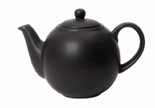 London Pottery 30180 Globe Teapot with Strainer, Ceramic, Black, 6 Cup Capacity (1.2 Litre)