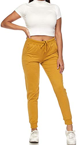 Ambiance Women's Juniors Soft Jogger Pants (Small, Classic Jogger Top Bundle Mustard)