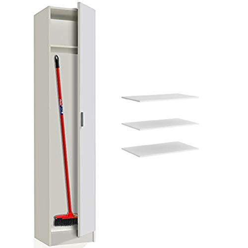 HABITMOBEL Armario Alamcenaje Multiusos Blanco, Medidas: 182 x 37 cm (estantes adicionales incluidos)