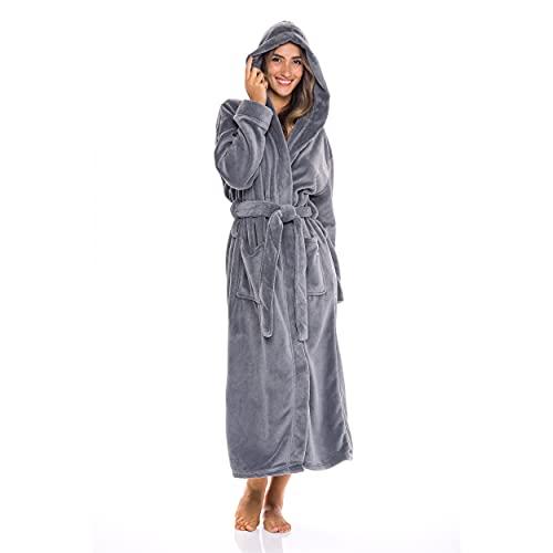 Alexander Del Rossa Women's Plush Fleece Robe with Hood, Warm Bathrobe Small-Medium Steel Gray (A0116STLMD)