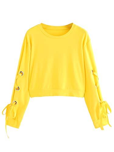 SweatyRocks Women's Casual Lace Up Long Sleeve Pullover Crop Top Sweatshirt (X-Large, 1-Yellow)