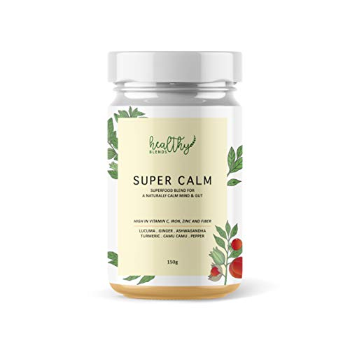 Stress Relief, Anti-inflammatory, Gut Health superfood Powder (30 Servings) - Super Calm by Healthy Blends. Turmeric Latte/Smoothie Blend. Ashwagandha, Turmeric, Ginger, Lucuma