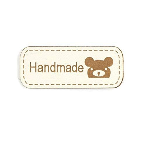 Etiqueta de disfraces personalizada 42x17mm oso etiquetas hechas a mano etiquetas hecha a mano PU etiquetas de PU para ropa de costura Etiqueta de cuero de imitación DIY Sombreros / bufanda 50pcs Acce