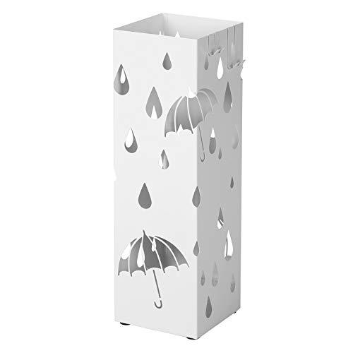 SONGMICS Porta Ombrelli in Metallo, Portaombrelli Quadrato, con 4 Gancini e Vaschetta Scolapioggia Rimovibile, 15,5 x 15,5 x 49 cm, Bianco LUC49W
