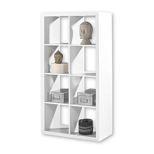 STYLE Modernes Würfelregal Weiß, ideal für Faltboxen - Praktisches Raumteiler Regal mit offenen Fächern - 77 x 147 x 38 cm (B/H/T)