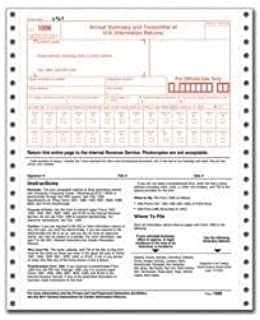 Tops for Year 2016 W-3 Transmittal Dot Matrix Forms 8 1/2