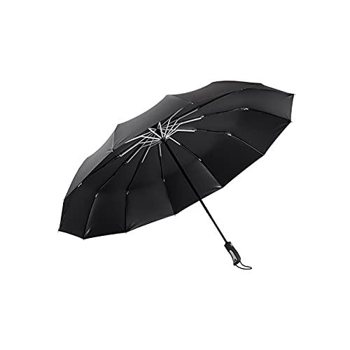 24580. Ombrellone pieghevole impermeabile portatile nero e forte ombrello compatto automatico facile da ruotare ombrello durevole ombrello antivento autoabbabile da viaggio Adatto per uomini e donne