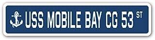 "USS Mobile Bay CG 53 Street Sign us Navy Ship Veteran Sailor Gift 3"" x 12"""