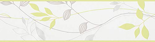 A.S. Création Bordüre Avenzio, floral, natürlich, creme, grau, grün, 249623