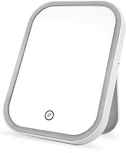 Espejos Tocador Espejo de maquillaje LED Maquillaje iluminado Interruptor de pantalla táctil Tablero portátil Espejos de cosméticos iluminados. Fuente de alimentación dual (Tamaño: 7x5.2 in) para vest