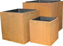 Hochwertiger Premium Pflanzkübel mit Einsatz - Außen / Outdoor - 3er Set - Pflanzgefäß: Garten Kübel in Rostoptik - Metall / Rost / Edelrost - Wetterfest & UV-Beständig - Metallkübel / Gartenkübel / Blumenkübel