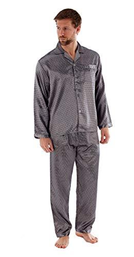 Leichtes Satin Pyjama Set für Herren (L, Grau)