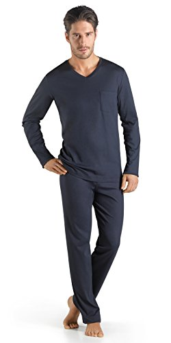 HANRO Herren Pyjama 1/1 Arm Sea Island Cotton (0496 black iris), Gr. S