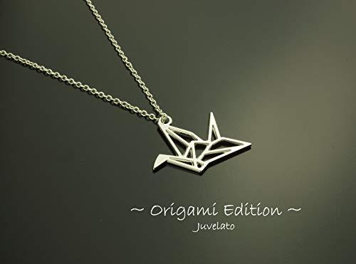 Kette Origami Kranich Vogel Anhänger silbern Juvelato