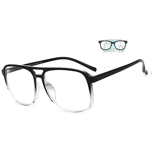 ACXZ Computerbrille Anti blaulicht Brillen für Herren und Damen 2.5, pilotenbrille Lesebrille, übergroße Mode-Anti-UV-Reader-Brille in Schwarz und Pink