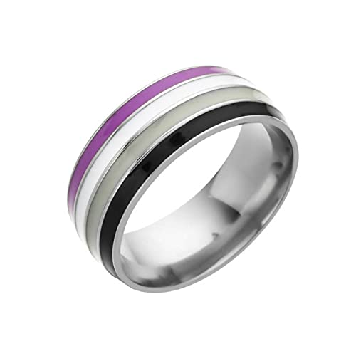 POSDN Anillo de arco iris de acero inoxidable lesbianas gays rayas anillos para mujeres hombres pareja joyería de moda regalo