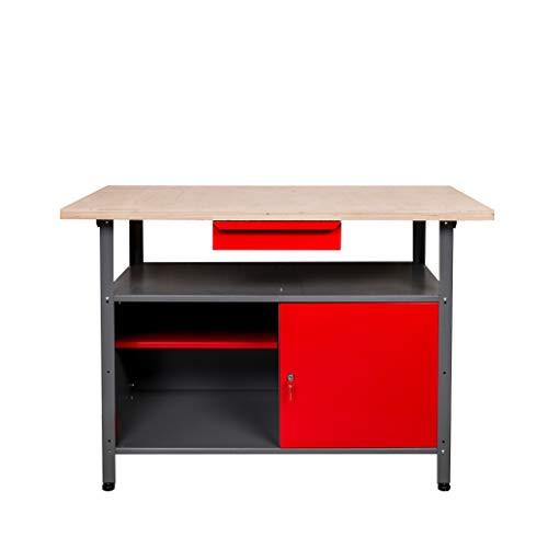 Kreher Werkbank aus Metall mit 30 mm Sperrholzplatte und einer abschließbaren Tür. Mit Schublade, Einlegeboden und Gewindefüßen. Maße BxTxH 120 x 60 x 85 cm.