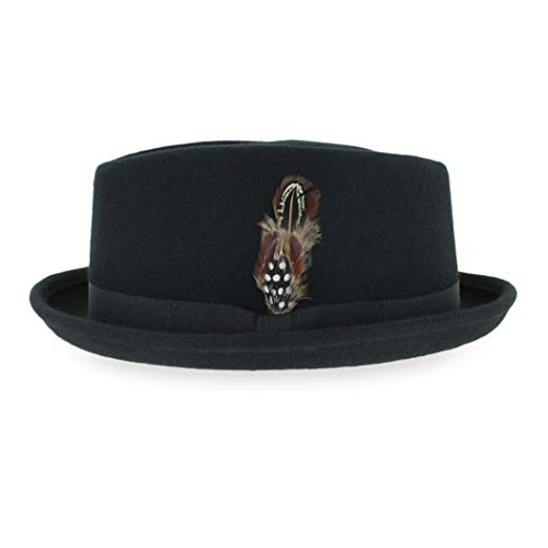 Belfry Crushable Porkpie Fedora Hat Men's Vintage Style 100% Pure Wool in Black Brown Grey Navy Pecan and Striped Band (Large, Black)