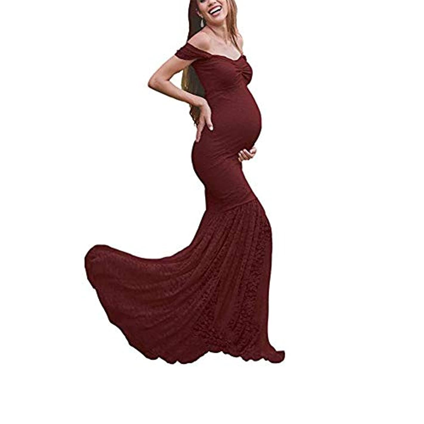 Women's Off Shoulder Ruffle Sleeves Lace Mermaid Maternity Slim Fit Gown Maxi Bridesmaid Photography Dress