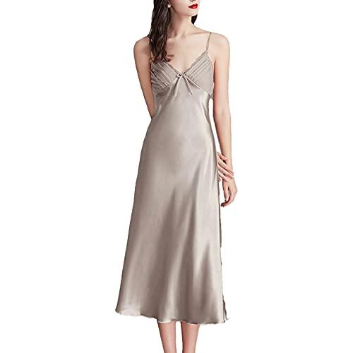 dPois Womens Sleeveless Nightshirt Chemise Nightgown Full Slip Spaghetti Strap Nightdress Grey 3X-Large