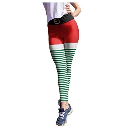 Women Yoga Leggings Workout Running High Waisted Leggings Christmas Print Fitness Sports Active Yoga Pants (Green, M)