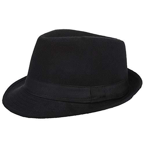AIEOE - Sombrero Hombre Fieltro Panamá Británico Gorro Jazz con ala Ancha Hat Caballeros Elegante para Adulto Chicos Hombres Sombrero Invierno Cálido - Negro
