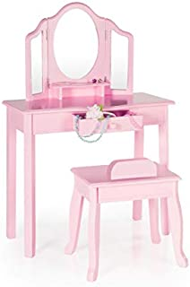 Guidecraft Vanity and Stool – Pink: Kids' Wooden Table and Chair Set with 3 Mirrors and Makeup Drawer Storage for Toddlers - Children's Furniture