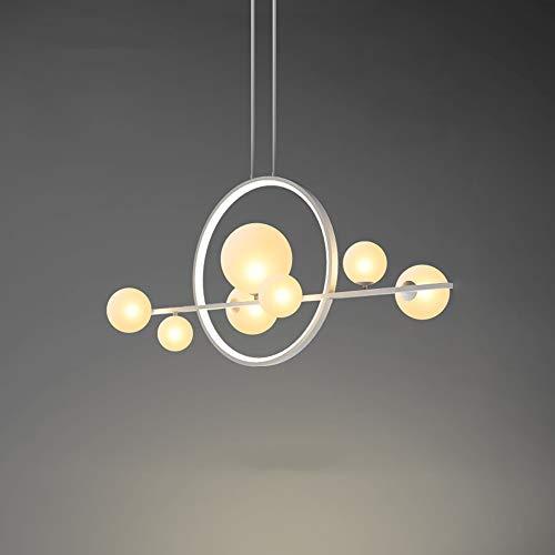 MAOS Hierro Forjado Blanco LED de la lámpara de Cristal de la Burbuja de luz Pantalla Comedor de Tela Tienda Colgando iluminación de la lámpara G9 (Size : 100x73cm)