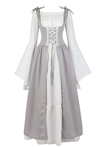 Womens Renaissance Cosplay Costume Medieval Irish Over Dress and Chemise Boho Set Gothic High Waist Gown Dress Grey-L